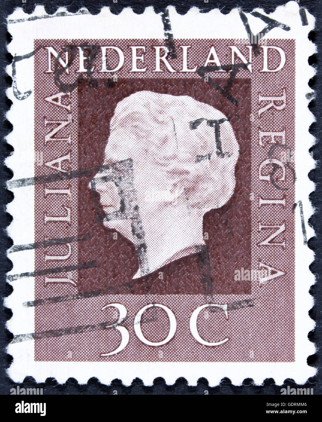 NETHERLANDS - CIRCA 1969: A stamp printed in Netherlands shows portrait of Queen regnant of Netherlands Juliana - Stock Image