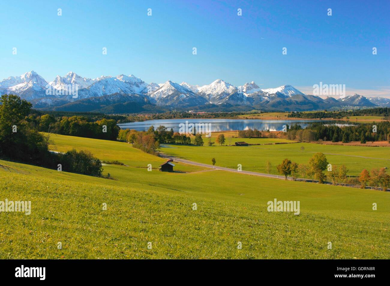 geography / travel, Germany, Bavaria, landscapes, Alps, Bannwaldsee, Tannheim mountains, Rossberg (mount), Aggenstein Stock Photo
