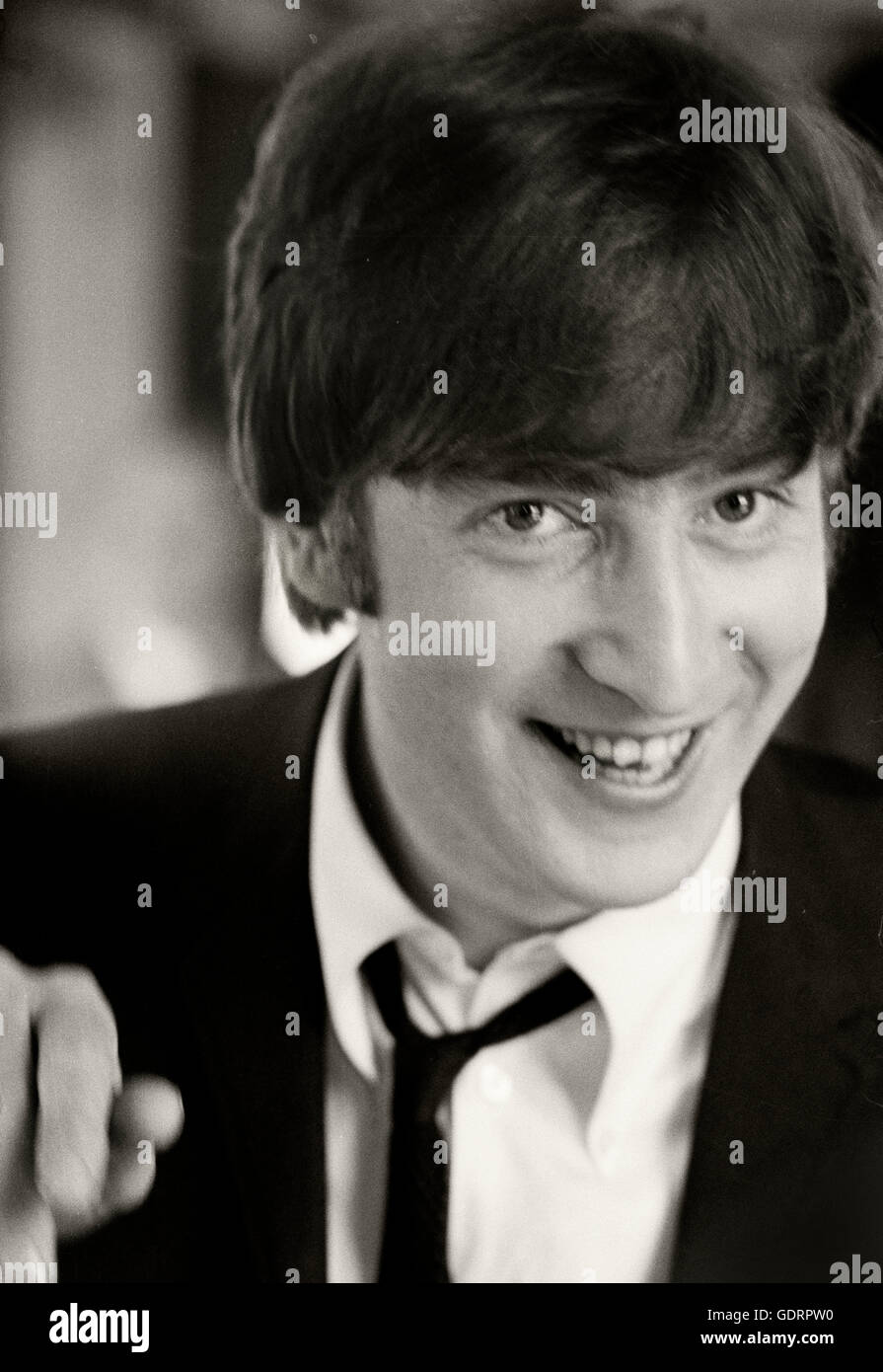 John Lennon Smiling During Lunch In The Dining Car Of Hard Days Night Train