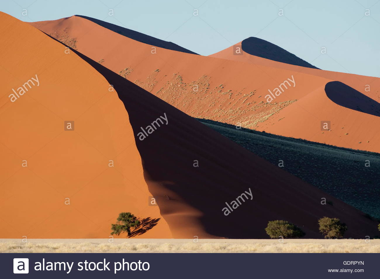 geography / travel, Namibia, Red sand dunes at Sossusvlei in Naukluft Park Namib desert Namibia - Stock Image