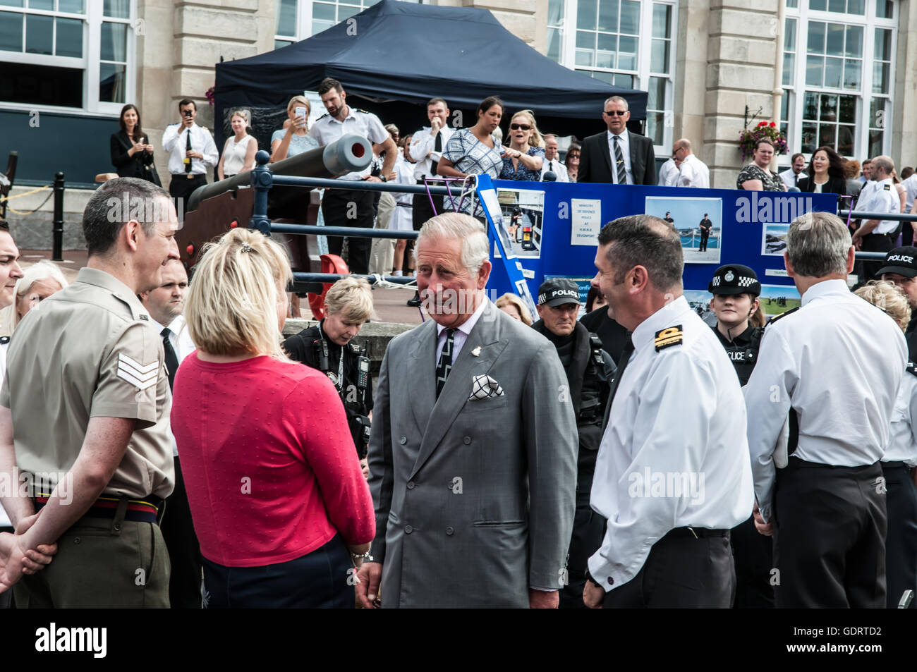 Her Majesty's Naval Base Devonport, Plymouth, Devon, U.K. 20th July 2016. HRH Prince of Wales meets members - Stock Image