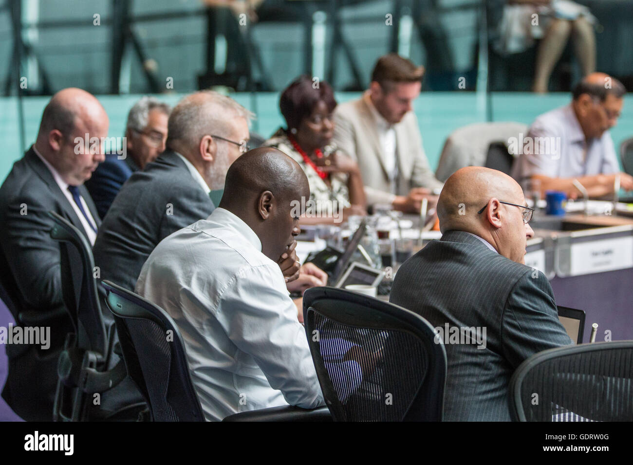 London, UK. 20th July, 2016. London Assembly Members ask questions to Sadiq Khan, Mayor of London, at Mayor's Question - Stock Image