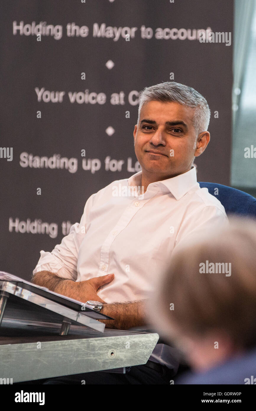 London, UK. 20th July, 2016. Sadiq Khan, Mayor of London, answers questions about the UK's exit from the European - Stock Image