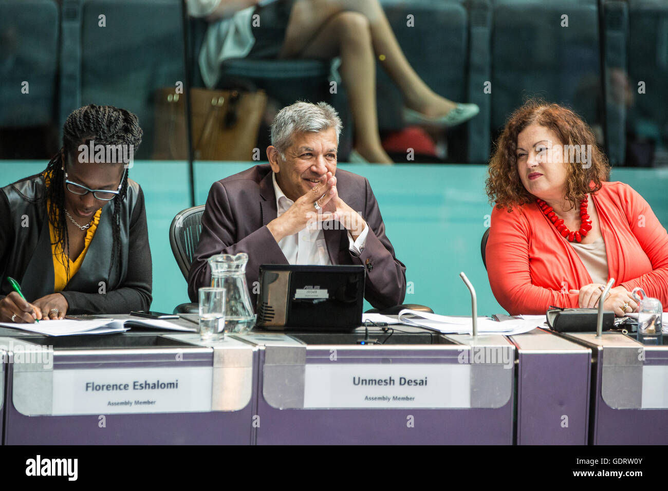London, UK. 20th July, 2016. Labour London Assembly Members Florence Eshalomi, Unmesh Desai and Leonie Cooper at - Stock Image