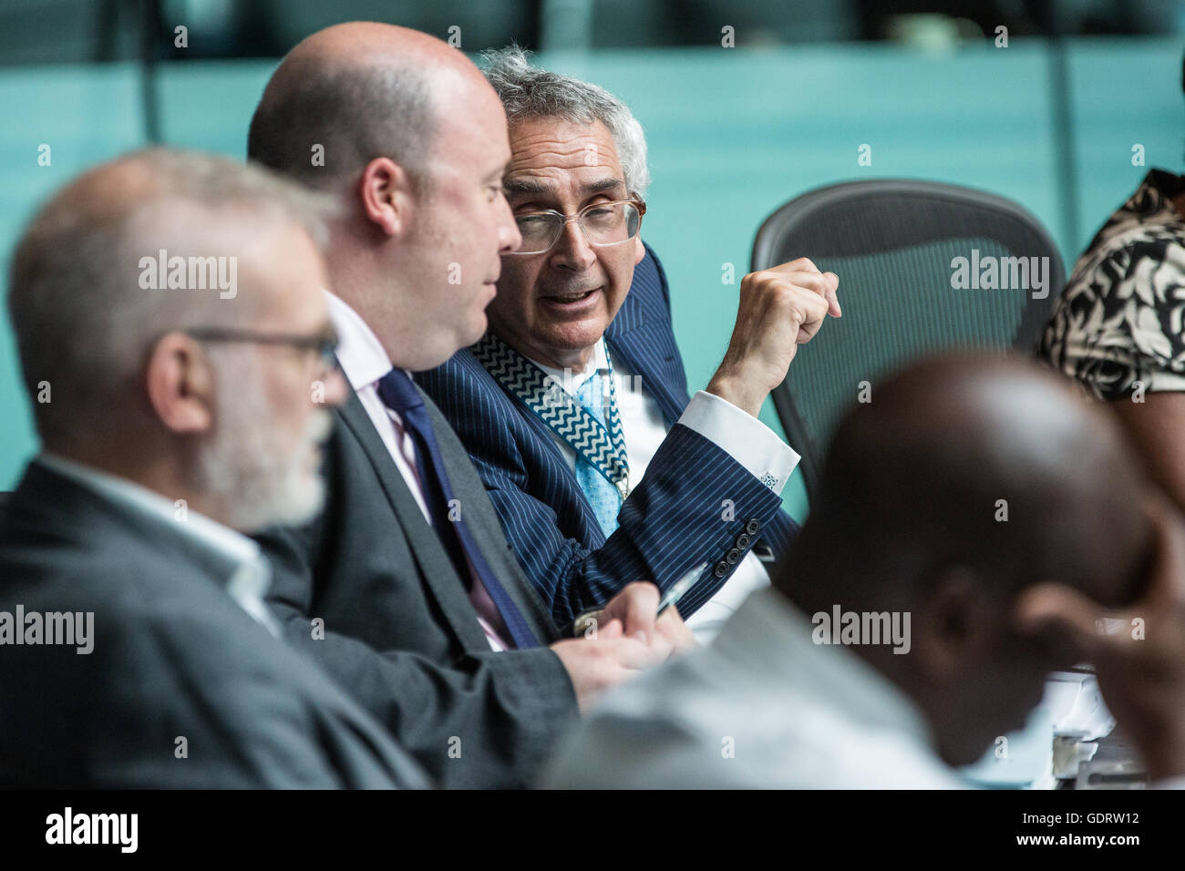 London, UK. 20th July, 2016. London Assembly Chair Tony Arbour (r) at Mayor's Question Time in City Hall. Credit: - Stock Image