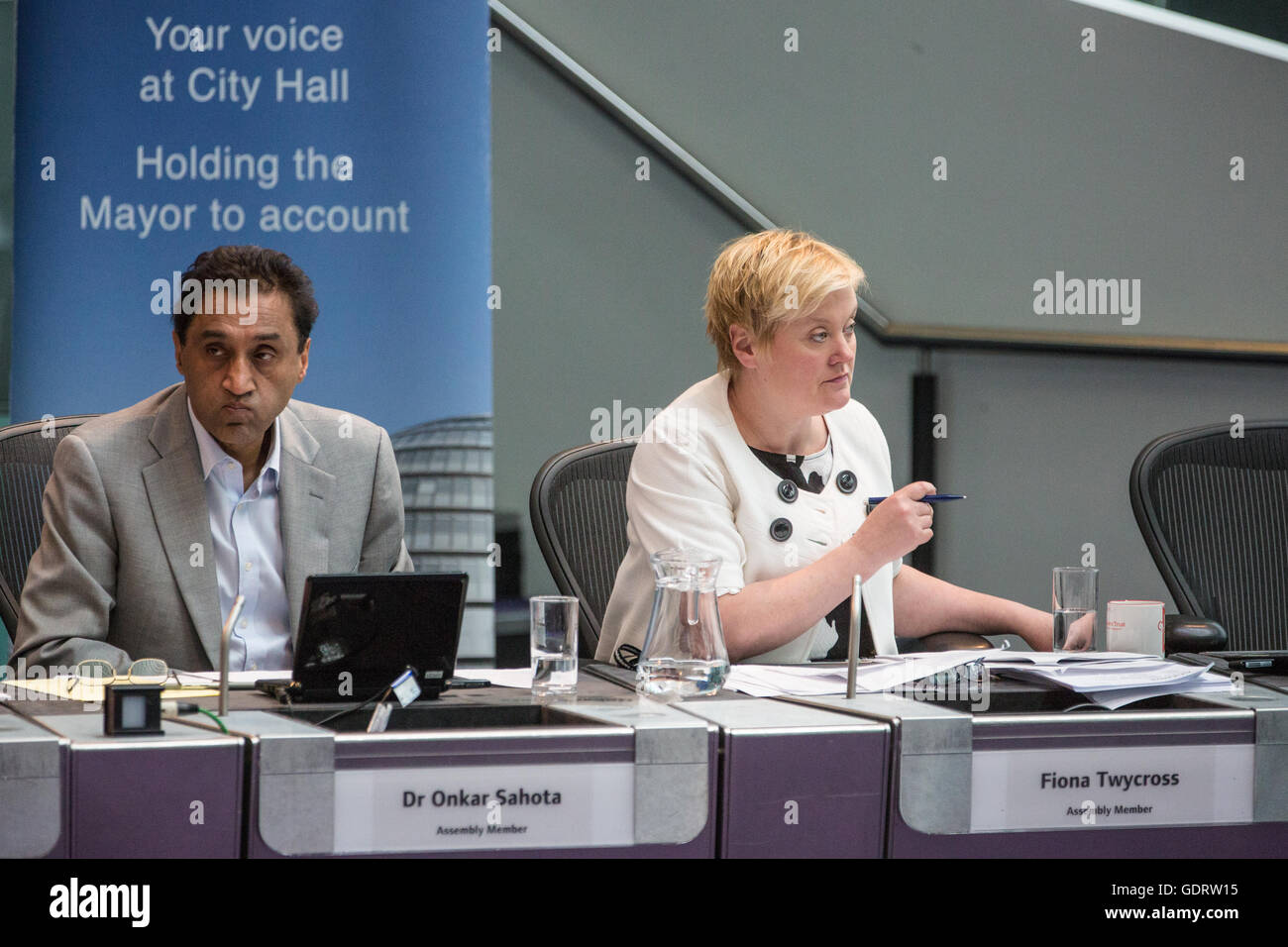 London, UK. 20th July, 2016. Labour London Assembly Members Dr Onkar Sahota Fiona Twycross at Mayor's Question Time - Stock Image