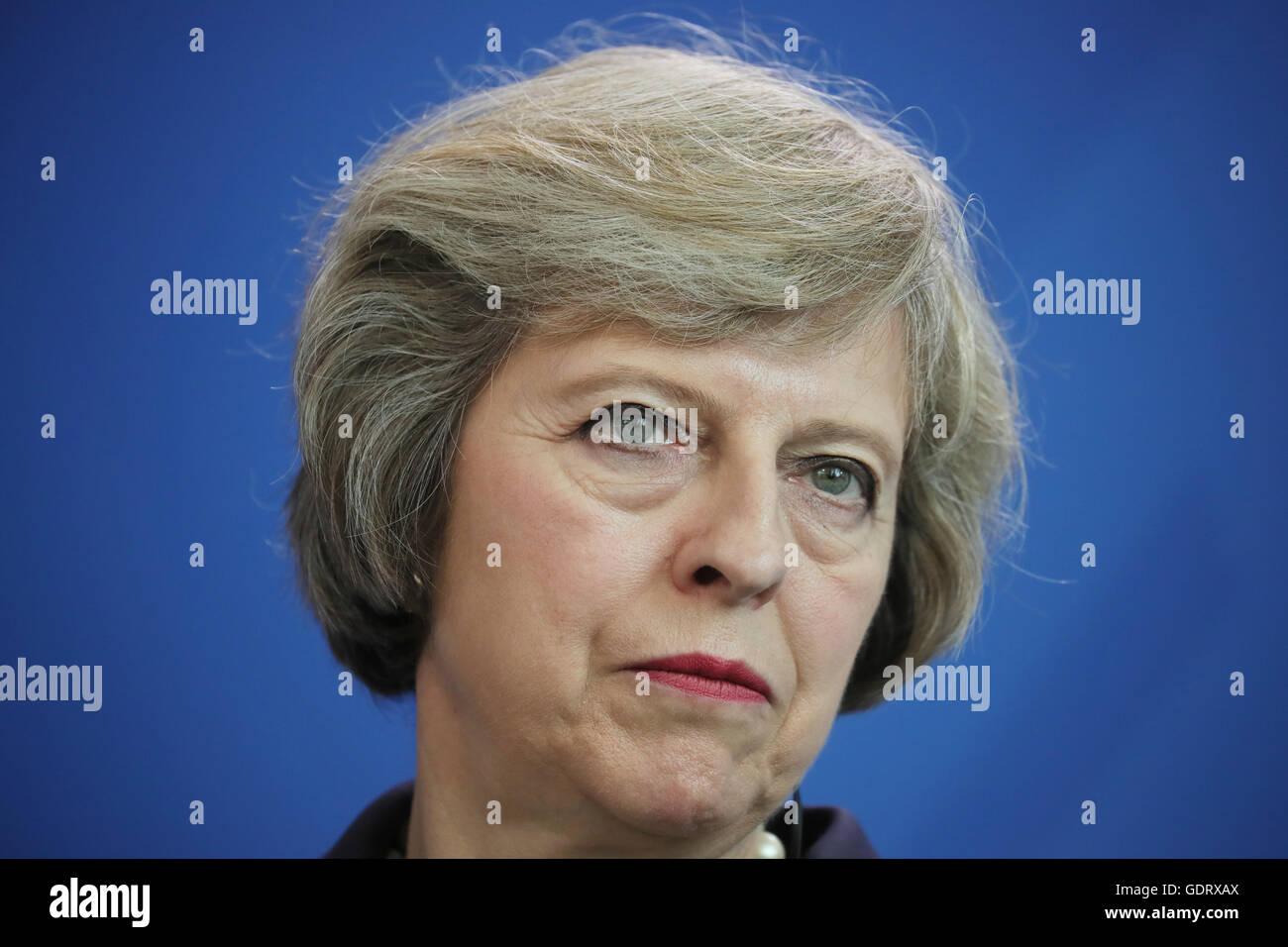 Die neue britische Premierministerin Theresa May spricht am 20.07.2016 in Berlin im Bundeskanzleramt zu Journalisten. - Stock Image