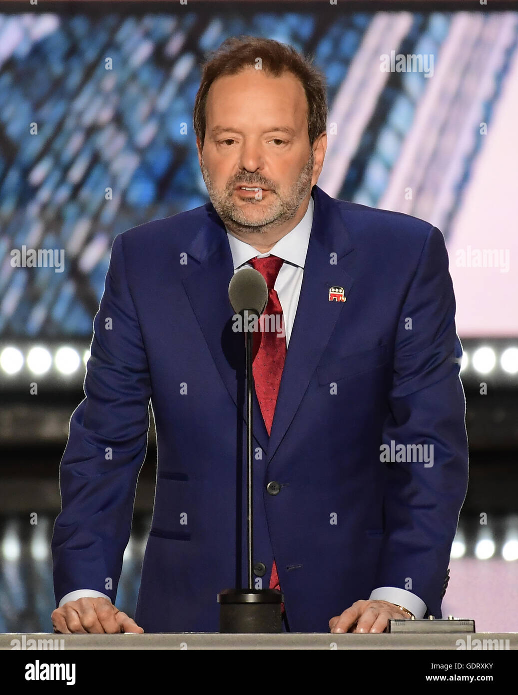 Cleveland, Ohio, USA. 19th July, 2016. Businessman Andy Wist of Brooklyn, New York makes remarks at the 2016 Republican - Stock Image