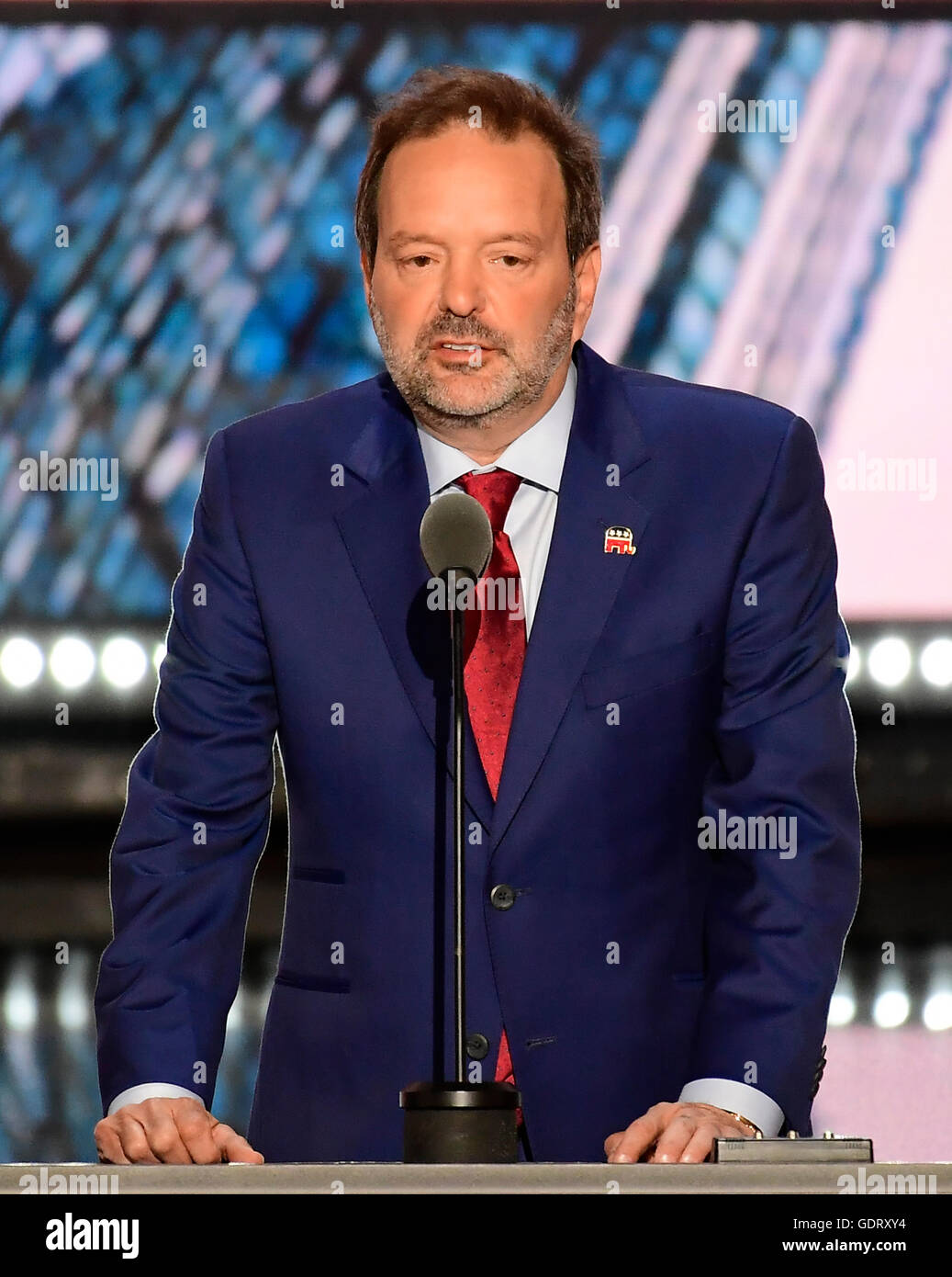 Cleveland, USA. 19th July, 2016. Businessman Andy Wist of Brooklyn, New York makes remarks at the 2016 Republican - Stock Image