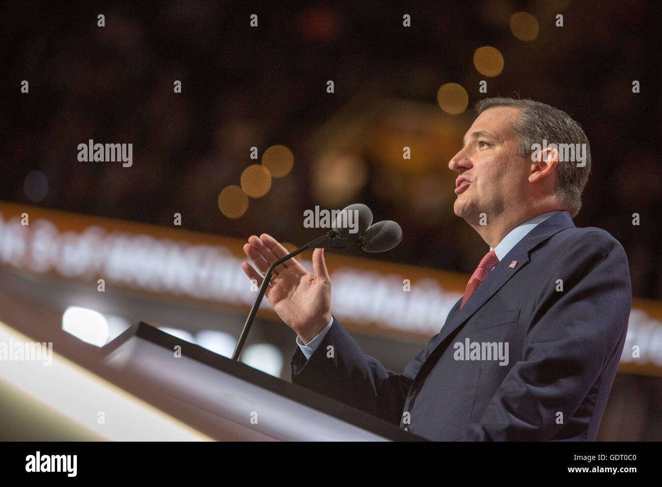 Cleveland, Ohio, USA; July 20, 2016: Texas Senator and defeated presidential candidate Ted Cruz speaks at Republican - Stock Image
