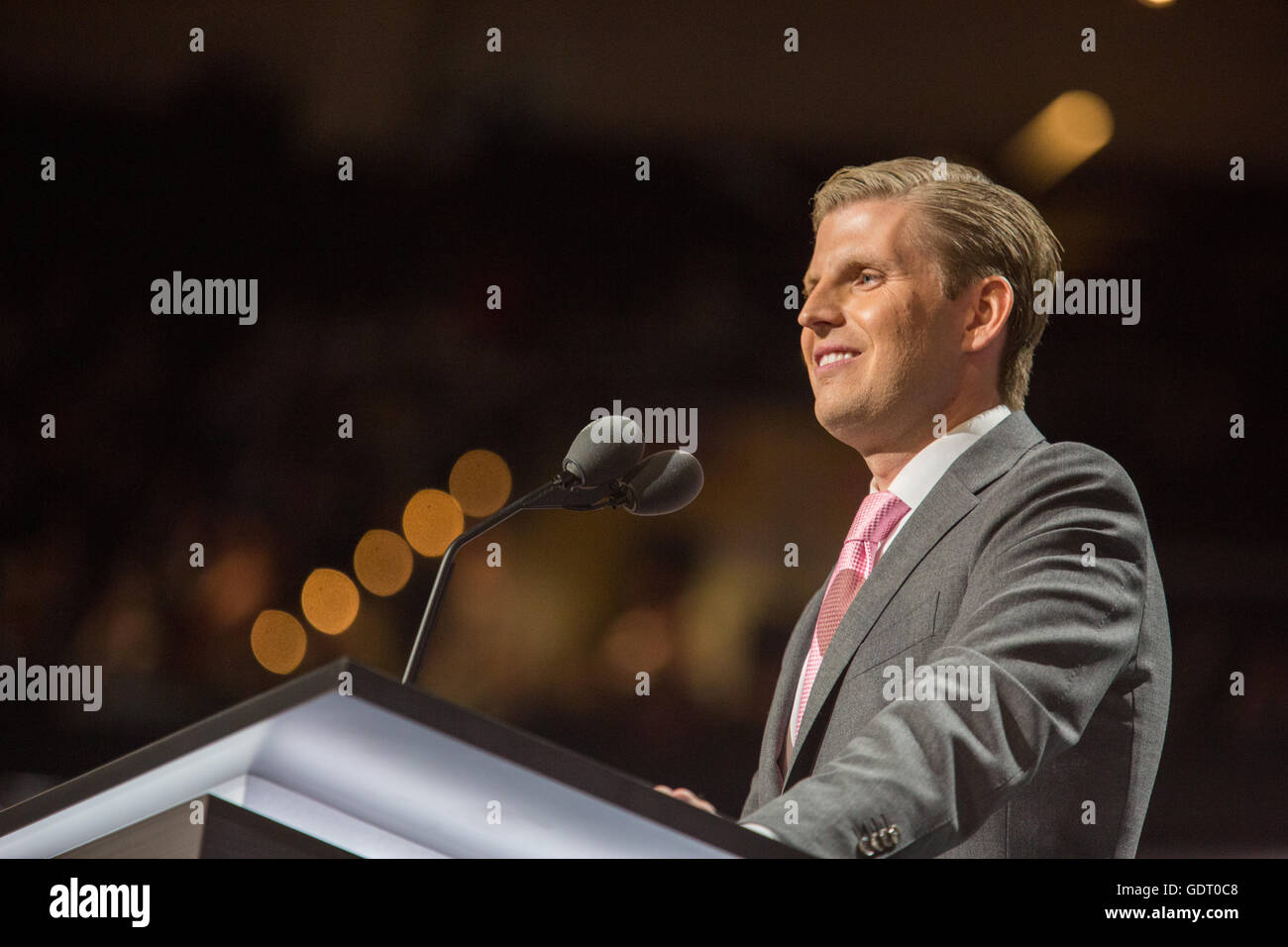 Cleveland, Ohio, USA; July 20, 2016: Eric Trump, son of Donald Trump, speaks at Republican National Convention. - Stock Image