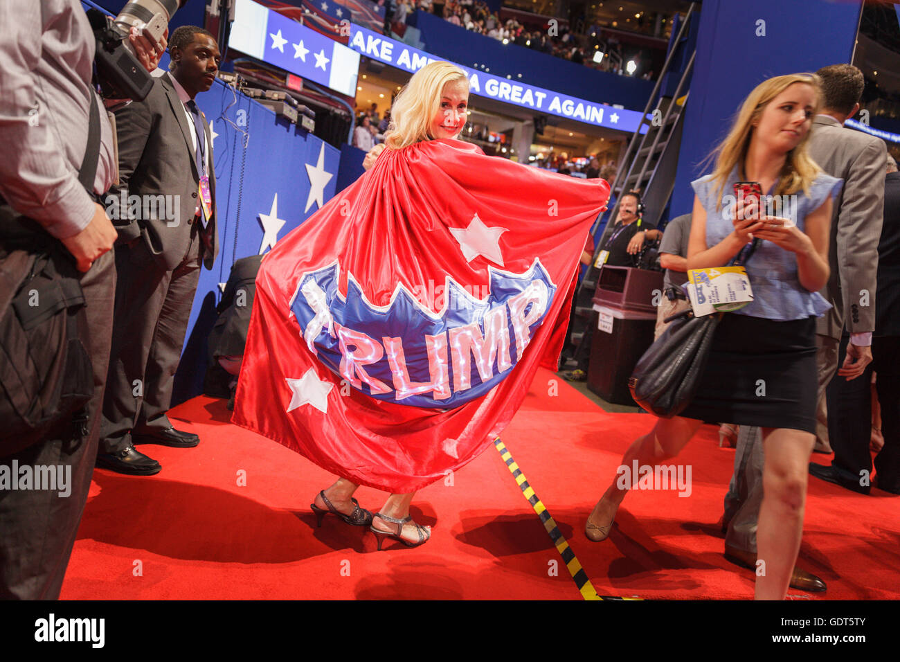 Cleveland, Ohio, USA; July 21, 2016: A woman from Minneapolis, Minnesota, models a Trump cape at the Republican - Stock Image