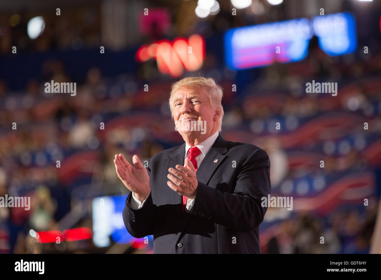 Cleveland, Ohio, USA; July 21, 2016: Donald J. Trump accepts his nomination to run for president at the Republican - Stock Image