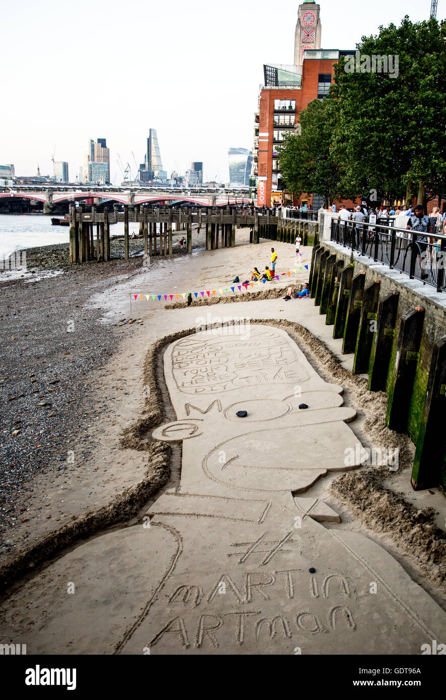 Bart Simpson Sand Art South Bank London UK - Stock Image