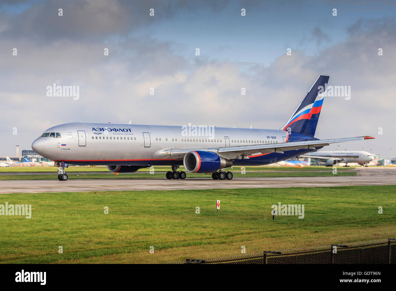 Aeroflot Boeing taxing at MAN airport Manchester,England,United Kingdom - Stock Image