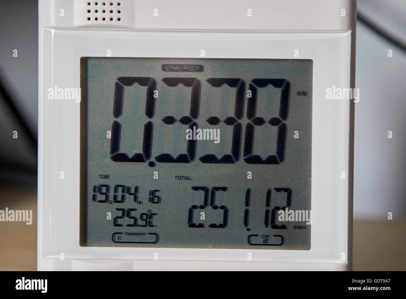 home energy meter showing low household electricity usage - Stock Image