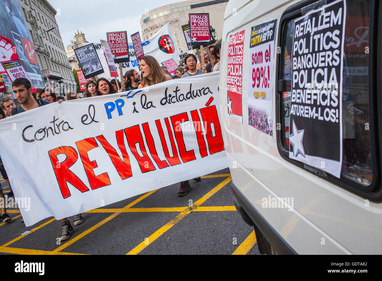 Protests against the depressing social situation.Spanish Revolution 2011 .15 M y 19 J.Indignados.outraged.social - Stock Image