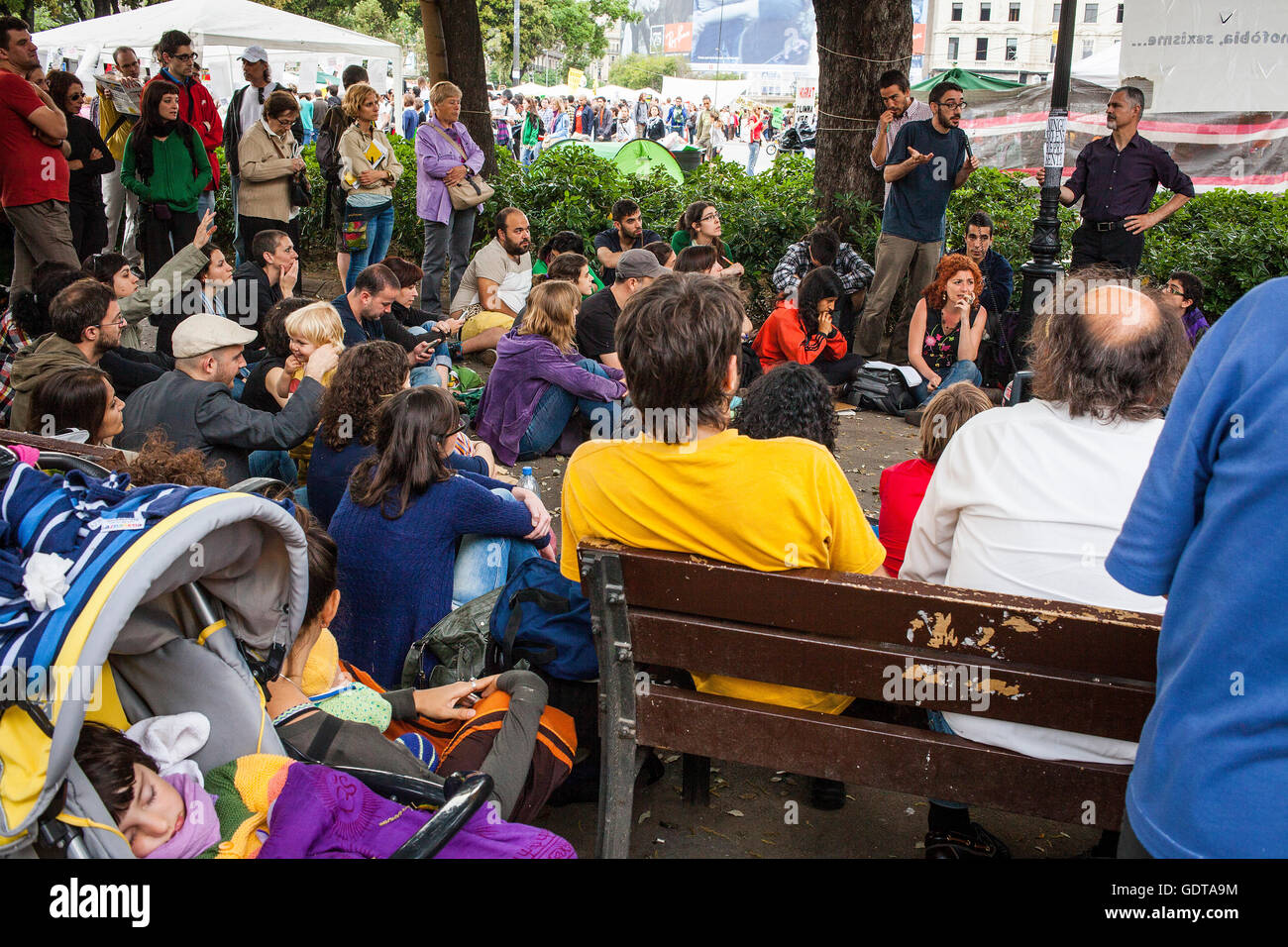 Popular assembly.Protests against the depressing social situation.Spanish Revolution 2011 .15 M y 19 J.Indignados.outraged.socia - Stock Image