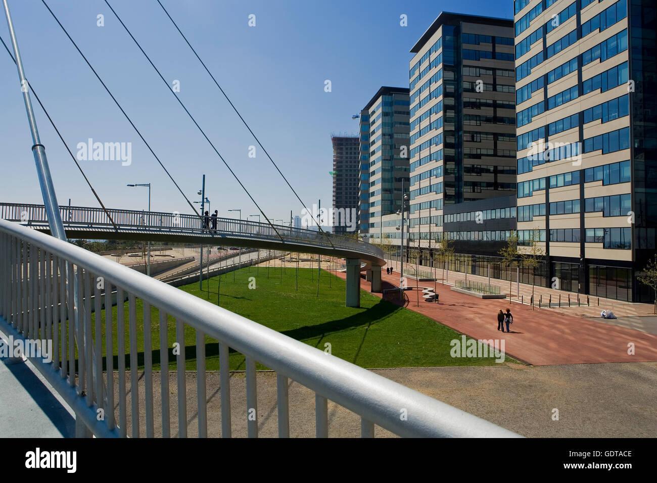 Barcelona: Bridge in Forum Area Stock Photo