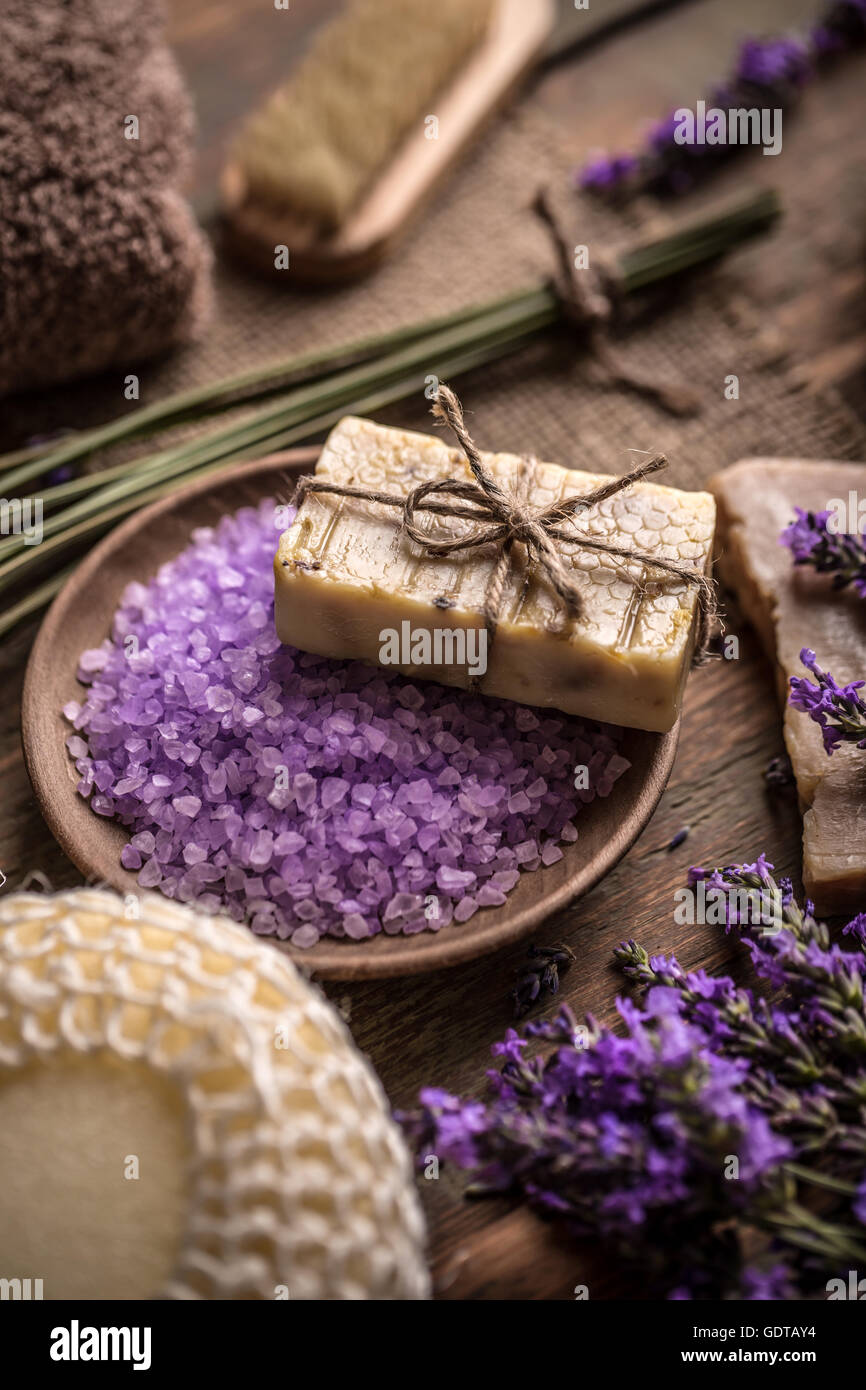 Natural soap, bath salt and fresh lavender flowers - Stock Image