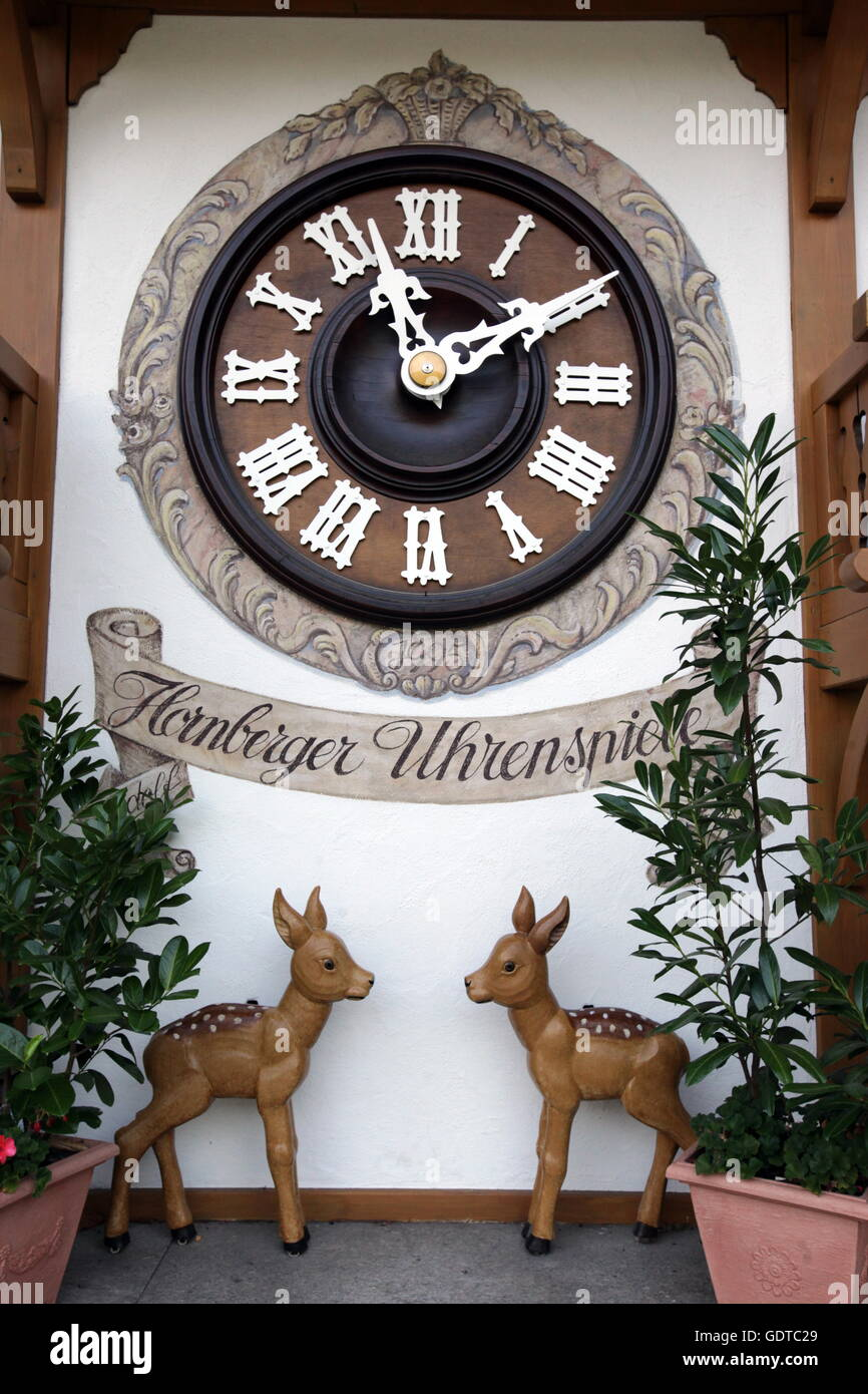 A shop of kuckuck Clock watch in the village of Triberg in the Blackforest in the south of Germany in Europe. - Stock Image