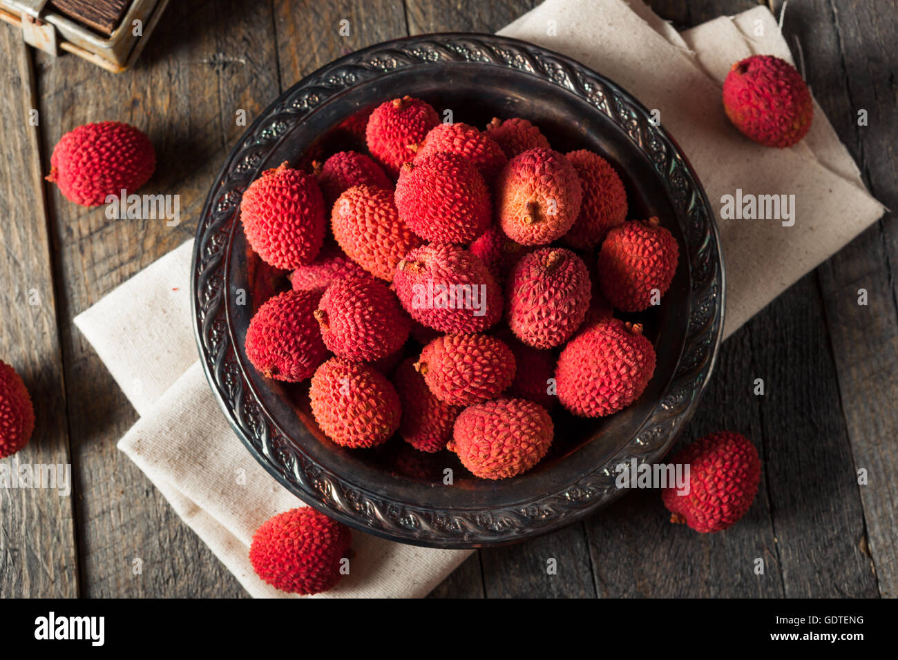 Raw Organic Red Lychee Berries Ready to Eat - Stock Image