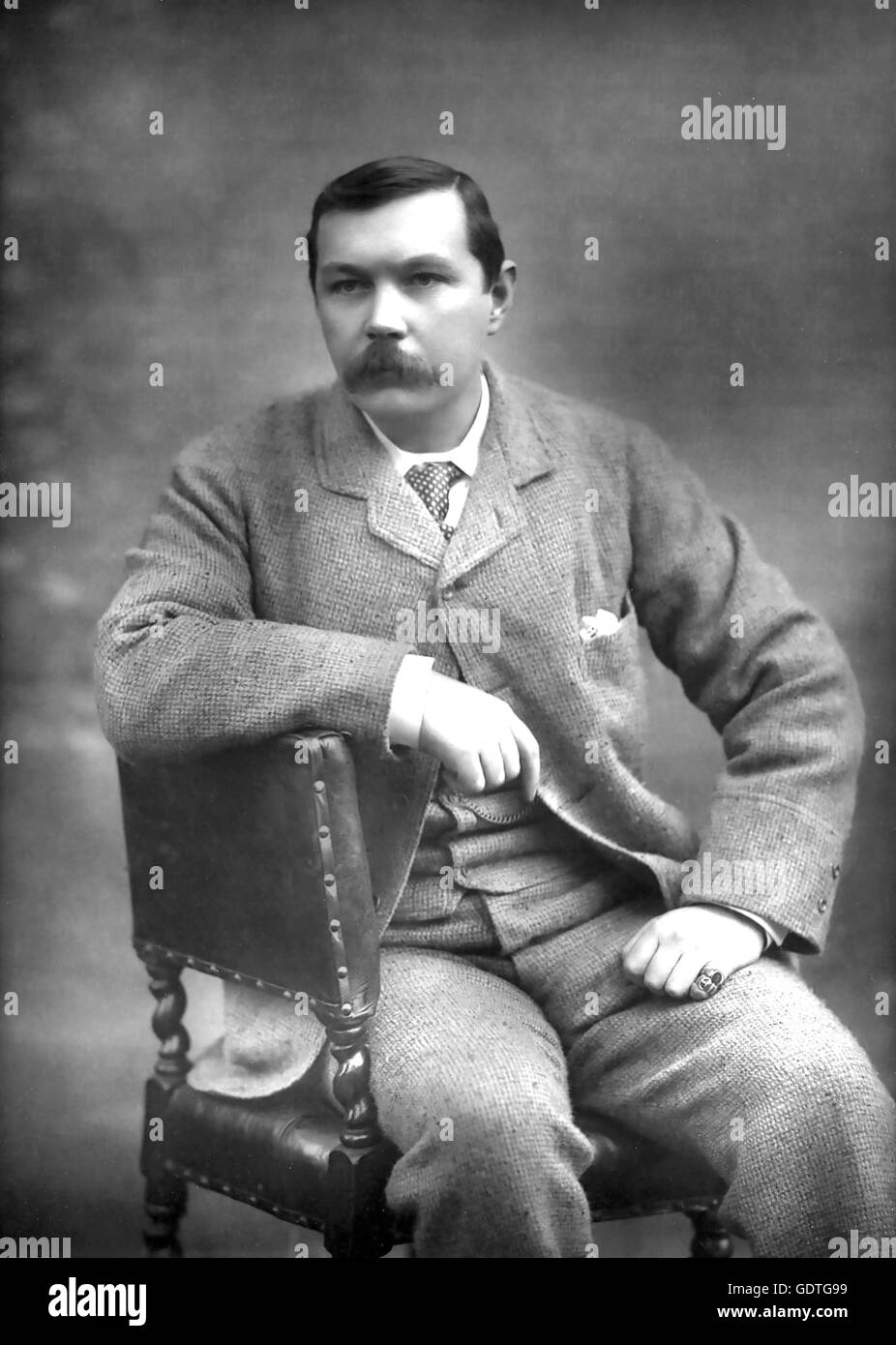 ARTHUR CONAN DOYLE (1859-1930) Scottish physician and writer who created the character of Sherlock Holmes in 1893. - Stock Image