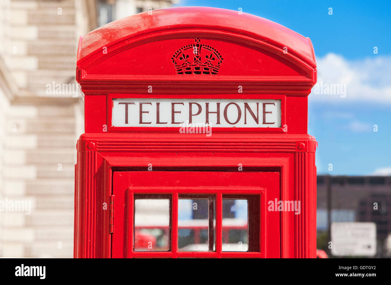 Red telephone box, London, U.K. - Stock Image