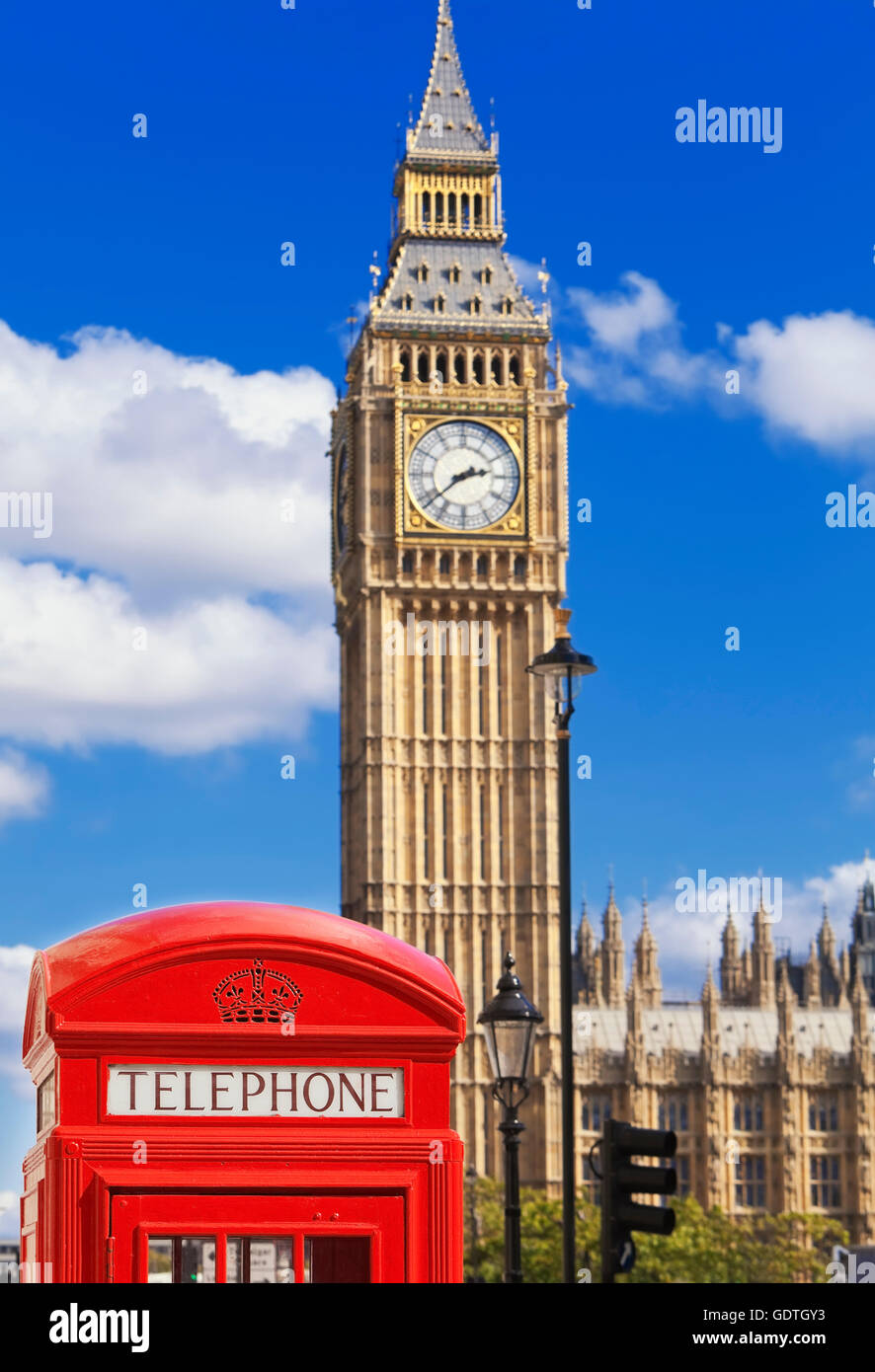 Red telephone box and Big Ben, London, U.K. - Stock Image