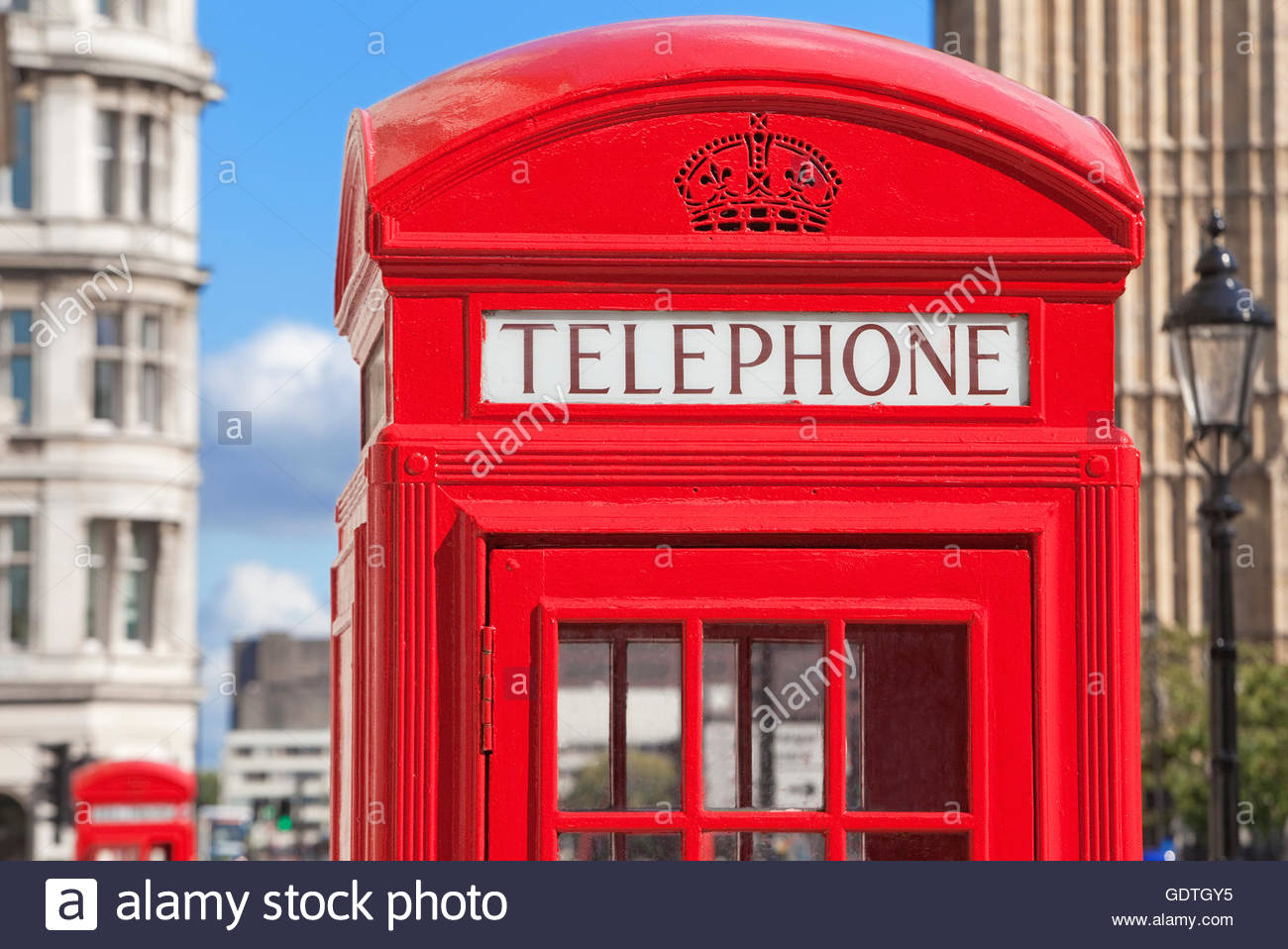 Red telephone boxes, London, U.K. - Stock Image