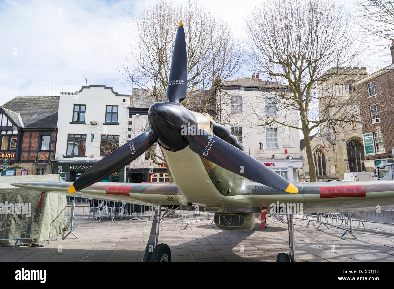 Hurricane Fighter on Display in York Yorkshire - Stock Image
