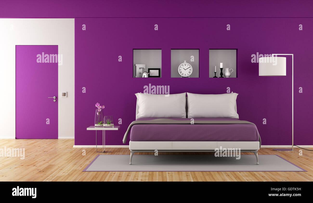 Bed Bedroom Modern Niche Nightstand Home Interior Stock