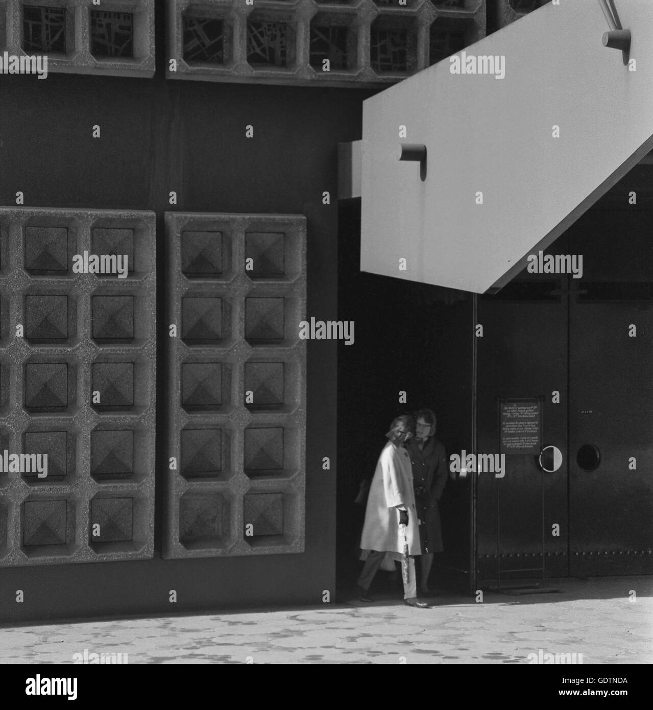 Entrance of the Kaiser Wilhelm Memorial Church in Berlin, 1964 Stock Photo