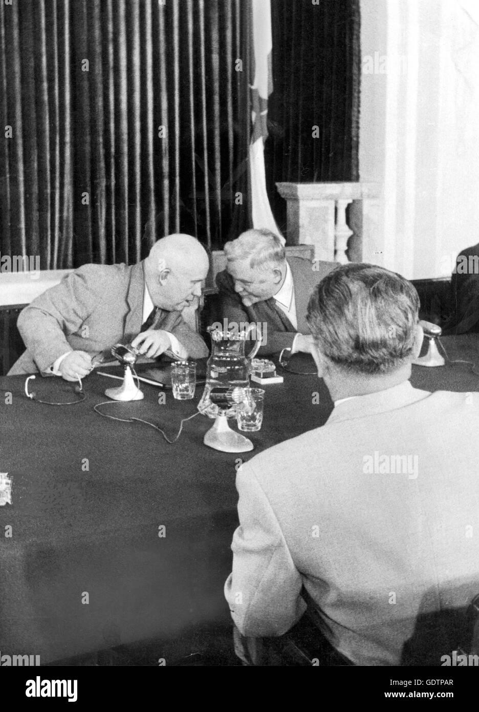 Nikita Khrushchev and Nikolai Bulganin, 1955 - Stock Image