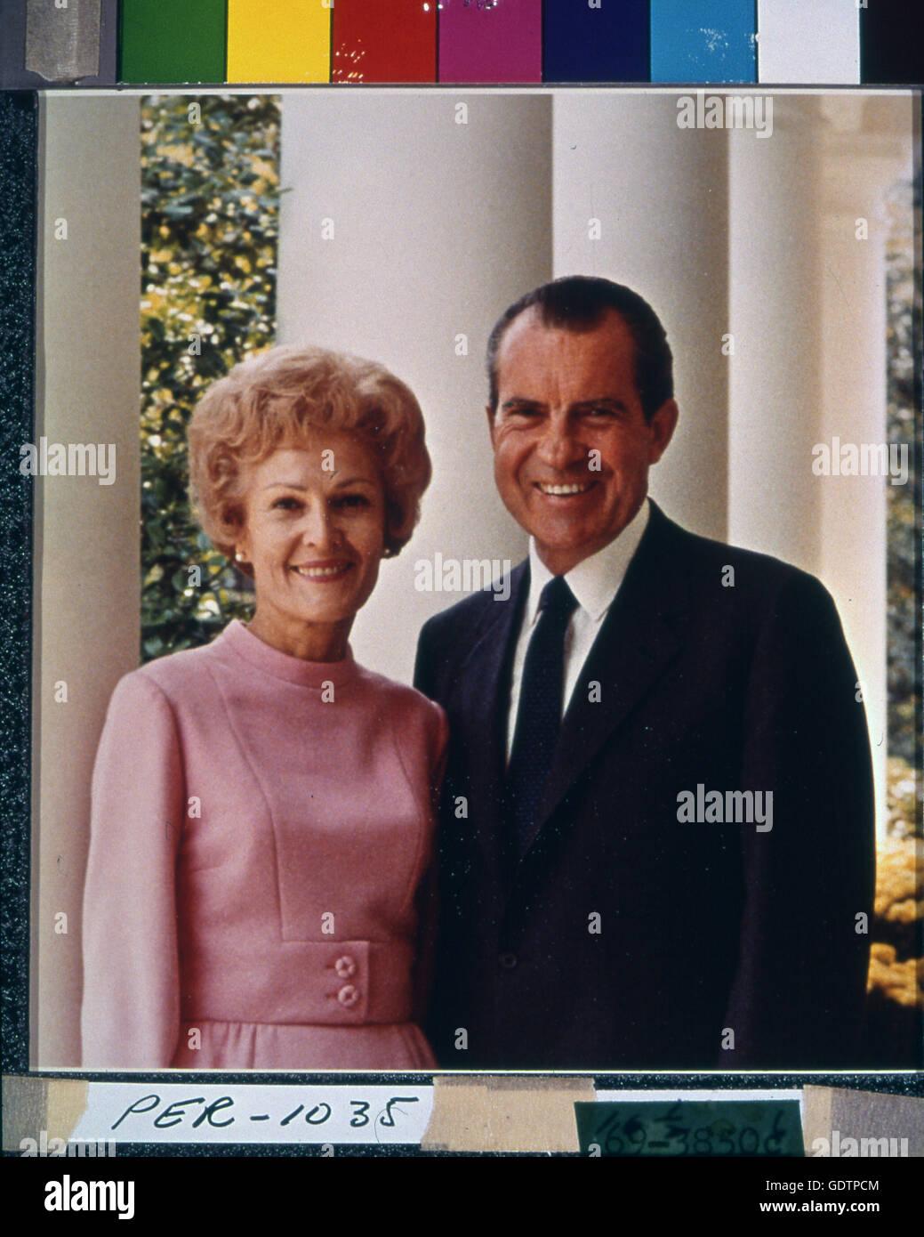 Informal portrait of President Richard M. Nixon and First Lady Pat Nixon. Stock Photo