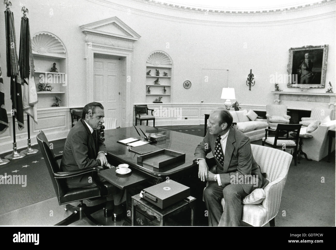 nixon office. President Richard M. Nixon Speaks With Gerald R. Ford In The Oval Office On Morning Of Nixon\u0027s Resignation From Presidency. E