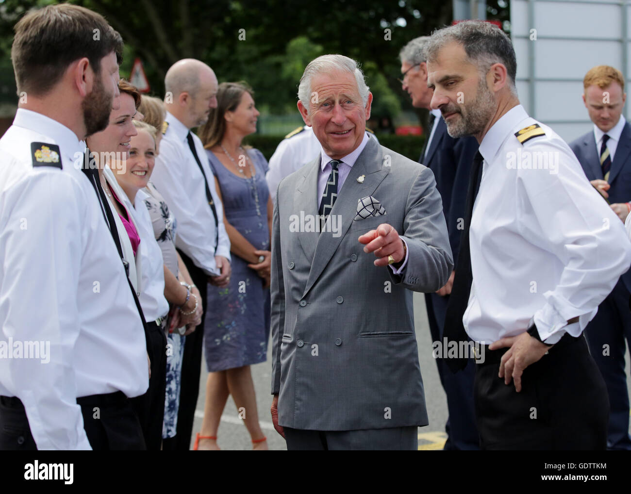 The Prince of Wales (centre), Admiral of the Fleet, meets naval personnel during a visit to Her Majesty's Naval - Stock Image