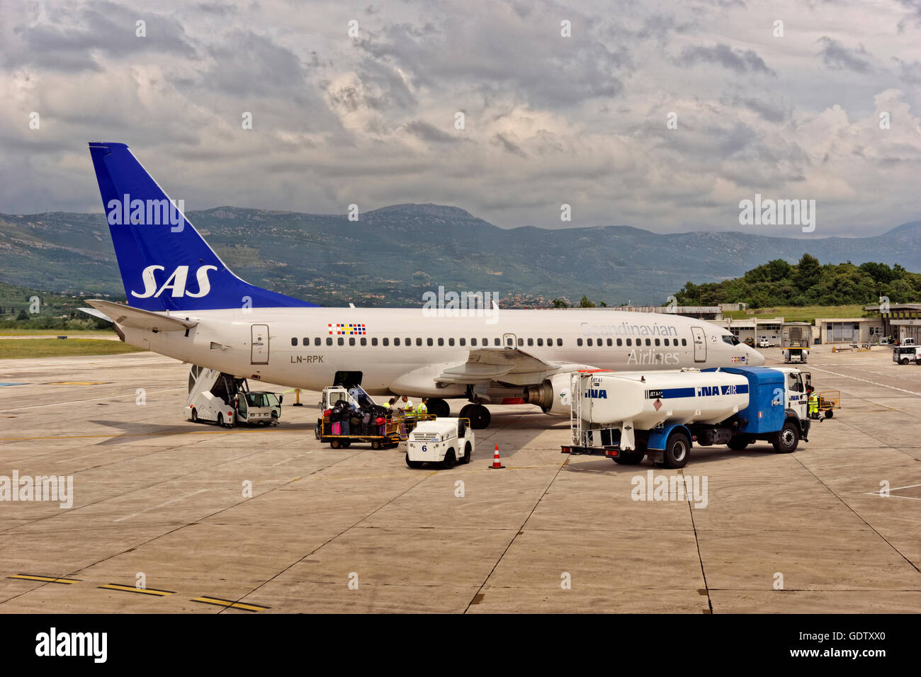 Scanidinavian Airlines System(SAS) Boeing 737-783 aircraft LN-RPK, 'Heimer Viking' on the apron at Split - Stock Image