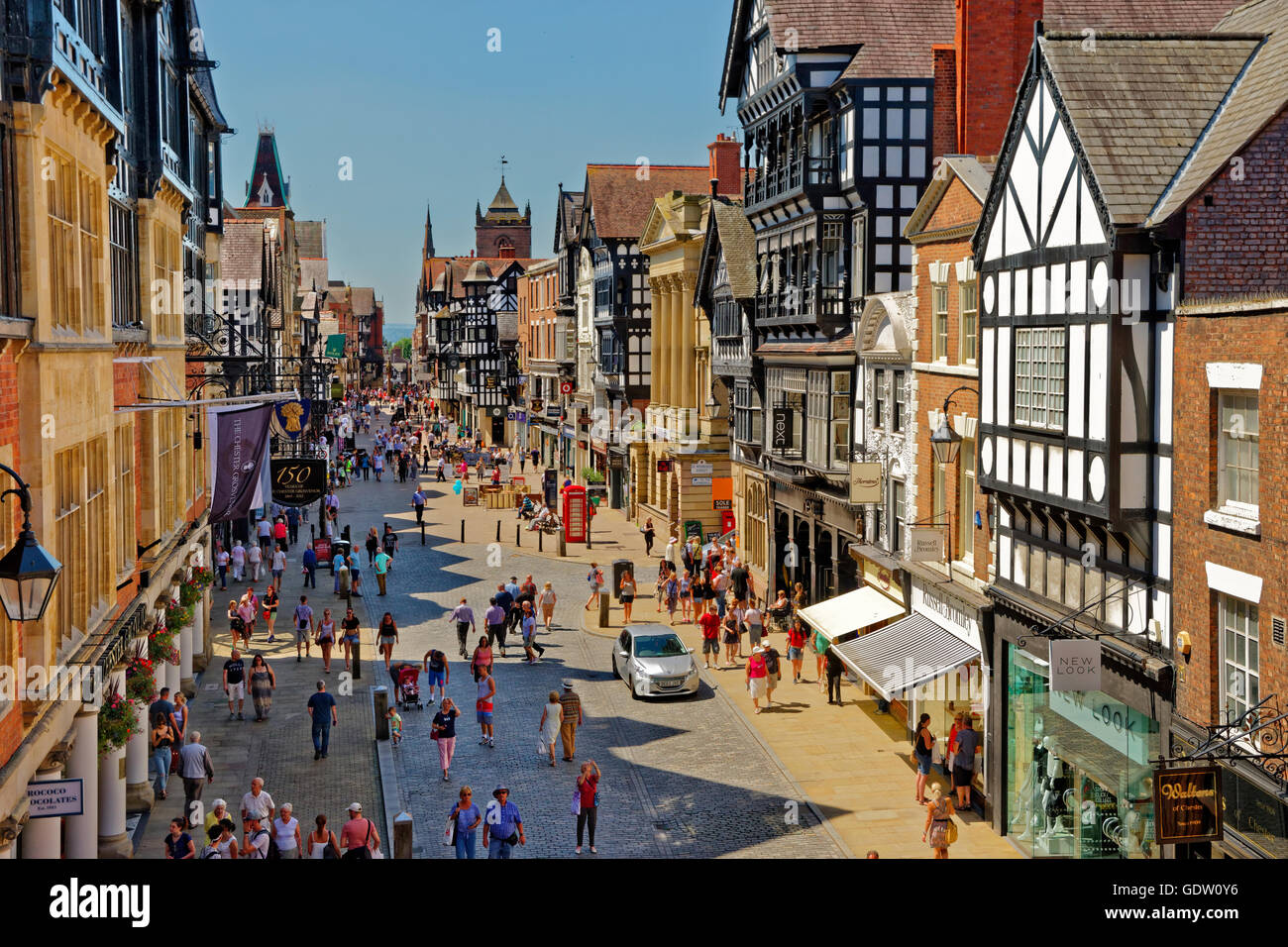 Eastgate, in the city centre of Chester, the county town of Cheshire. - Stock Image