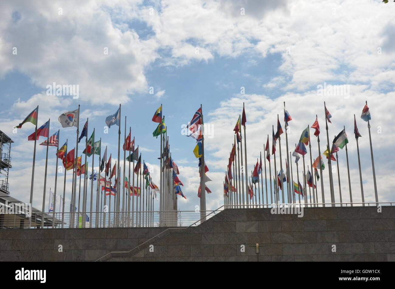business, international, flag, states, flagpole, standard, collective, economy, national, blow, worldwide, white, - Stock Image