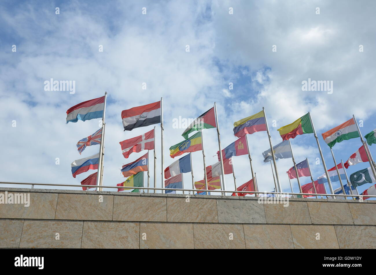flag, governments, global, globe, organization, wind, outdoors, earth, waving, organized group, traditional culture, - Stock Image