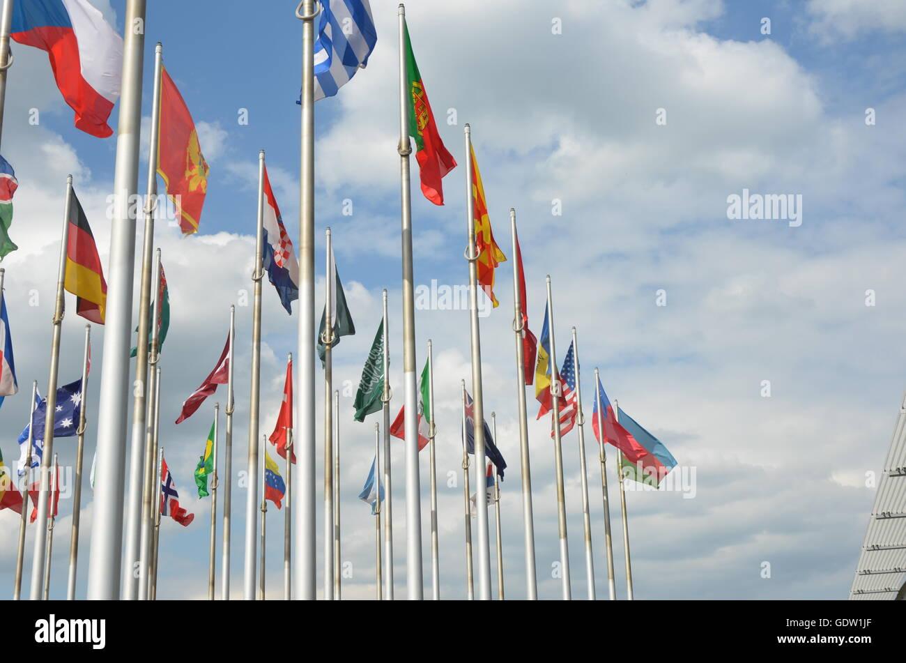 flags, international, world, sky, citizenship, nobody, many, national, blow, diplomacy, cooperative, symbol, cooperation - Stock Image