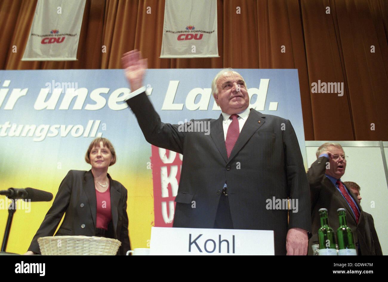 Kohl and Merkel Stock Photo