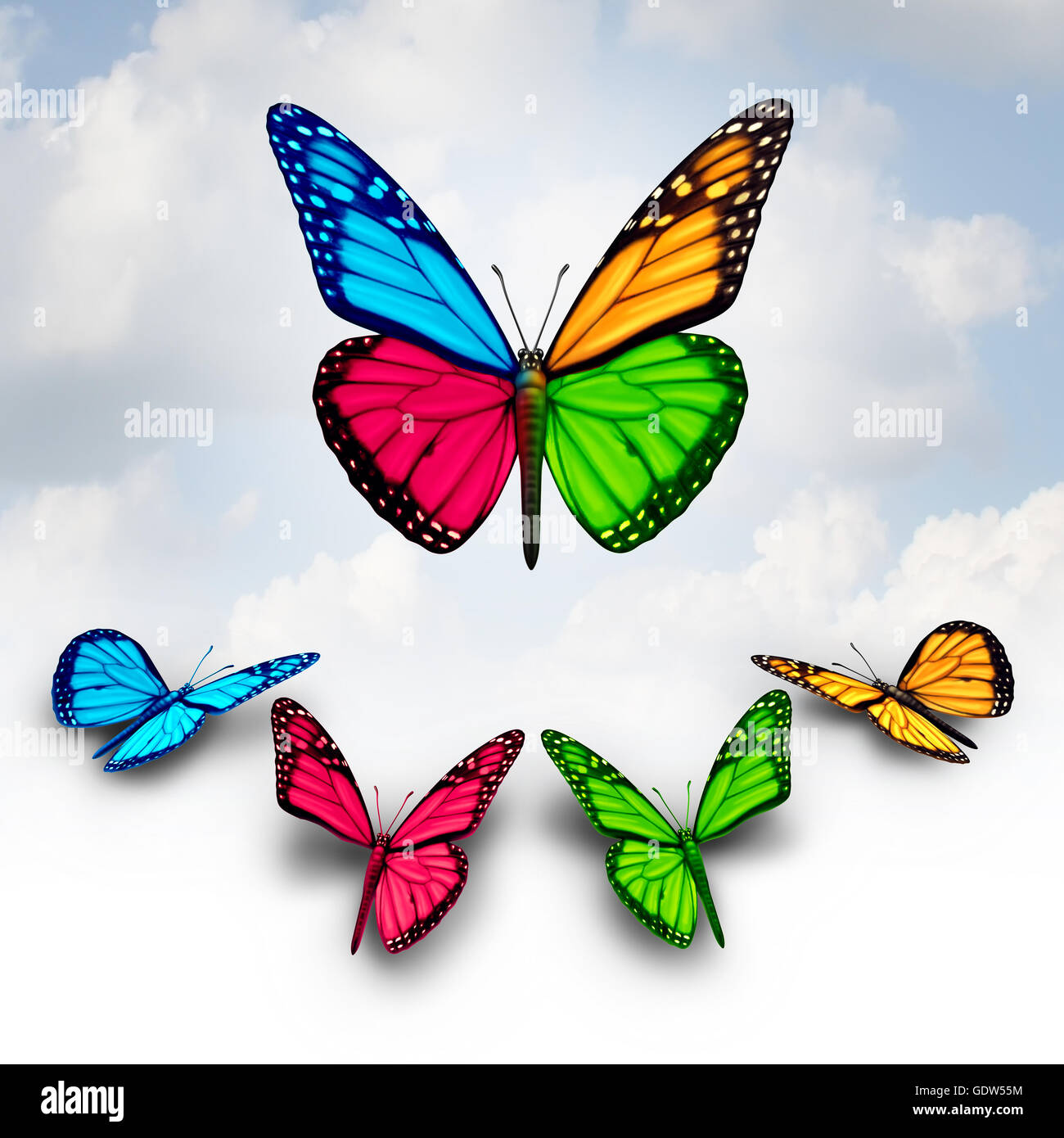 Collaboration business concept of success as a team of diverse butterflies collaborating together by donating or - Stock Image