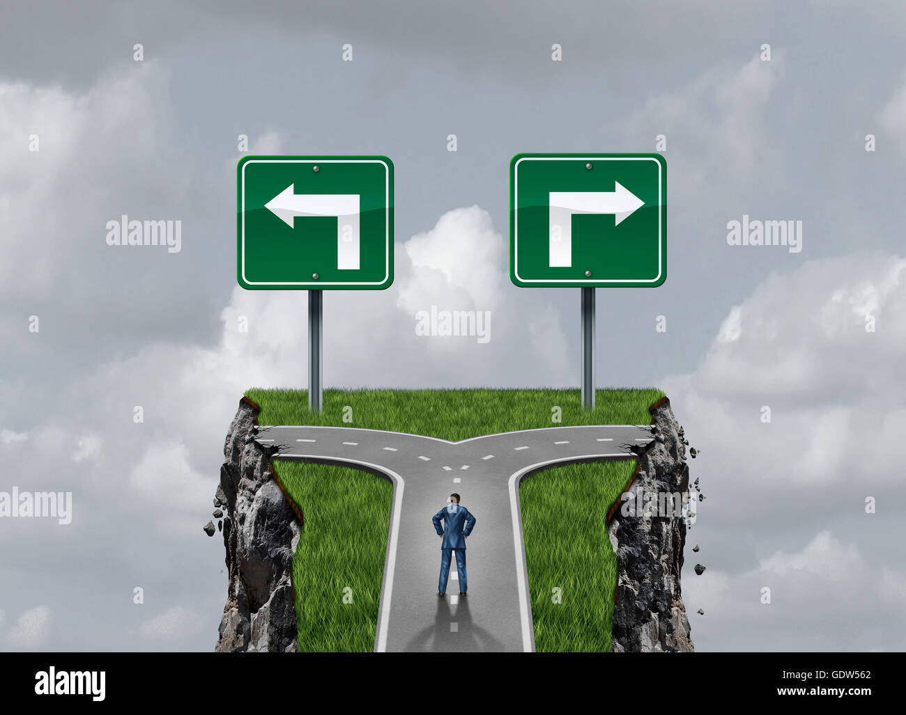 Difficult options and challenging choices business concept as a businessman standing at a crossroad path leading - Stock Image