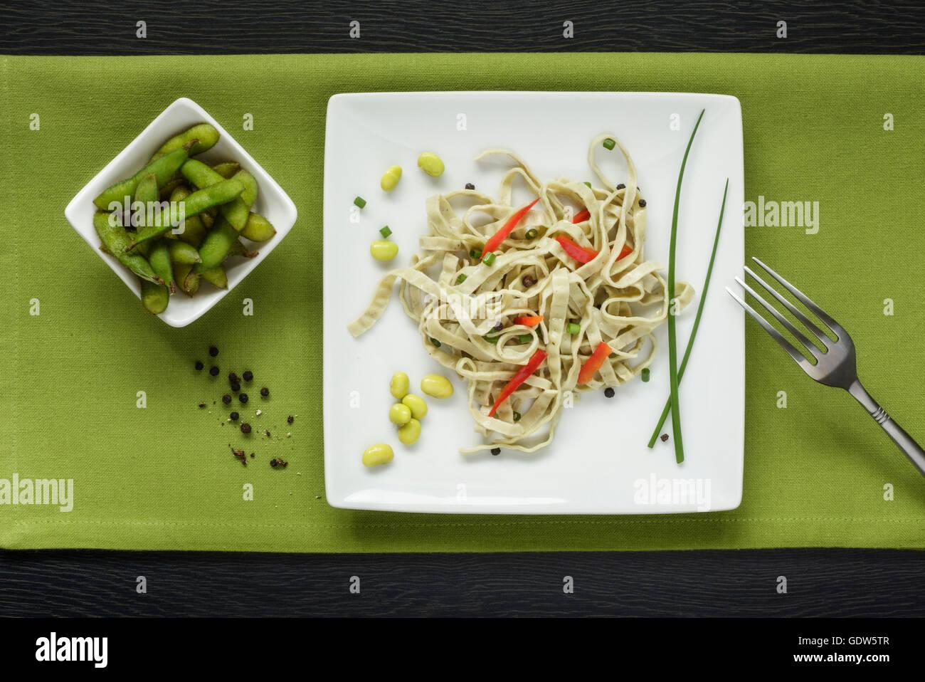 Edamame Beans and Edamame Pasta Salad - Stock Image