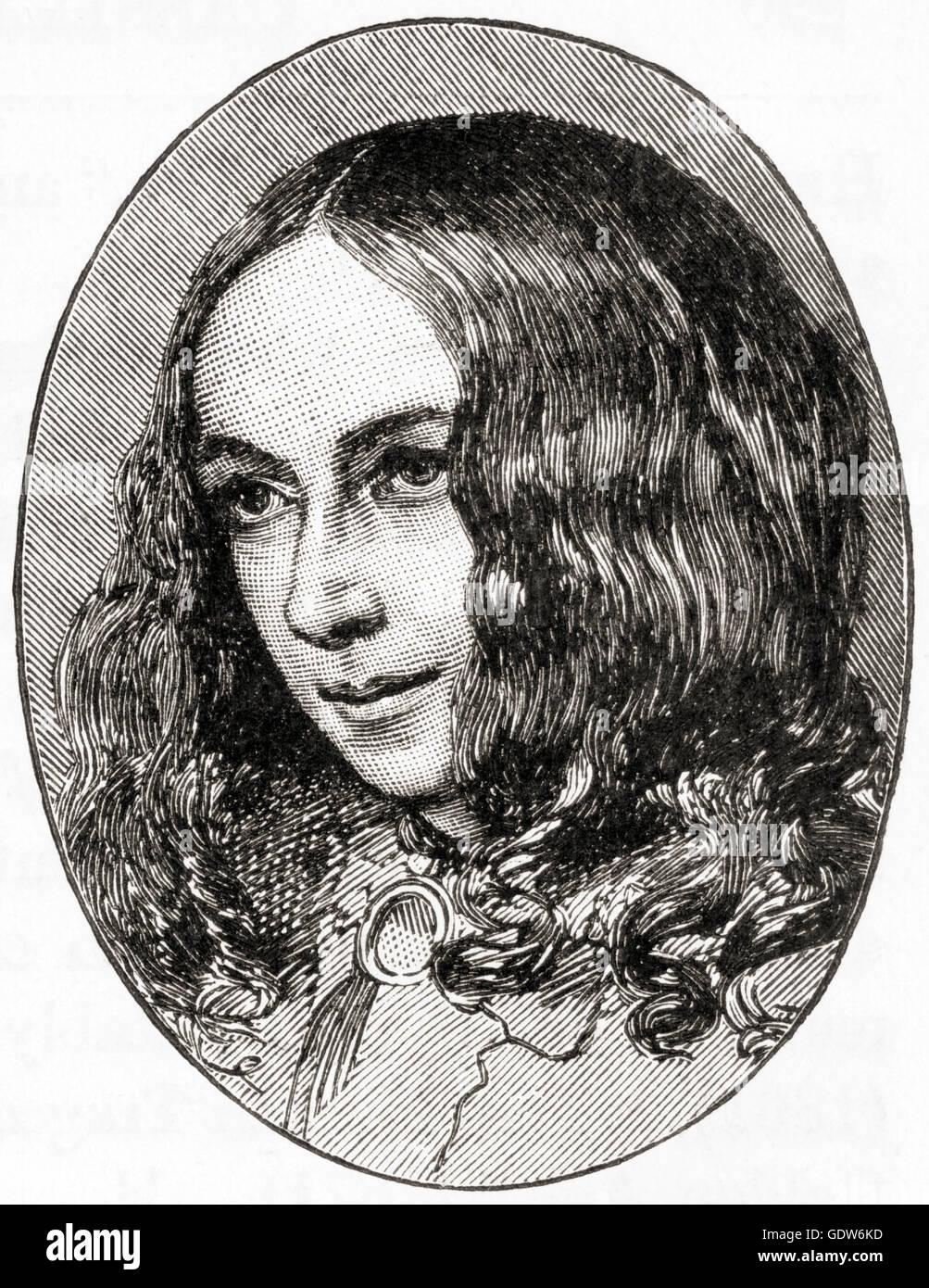 Elizabeth Barrett Browning, née Moulton-Barrett, 1806 –  1861.  English poet.  Her husband was Robert Browning. - Stock Image