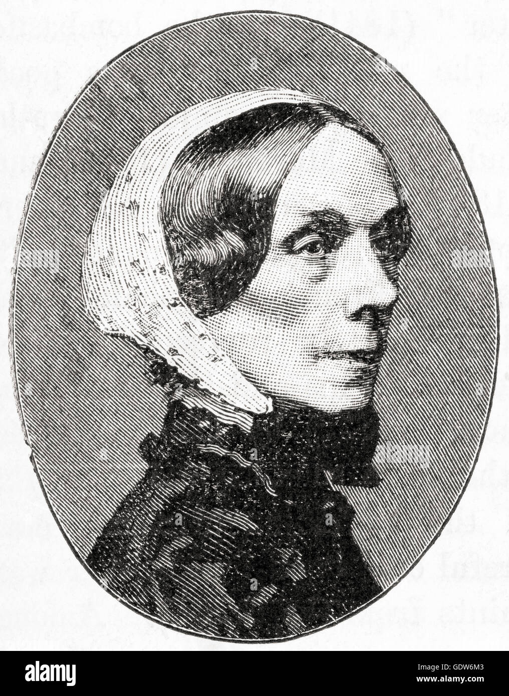 Jane Welsh Carlyle, née Jane Baillie Welsh, 1801 –  1866.  Notable letter-writer and the wife of essayist Thomas - Stock Image