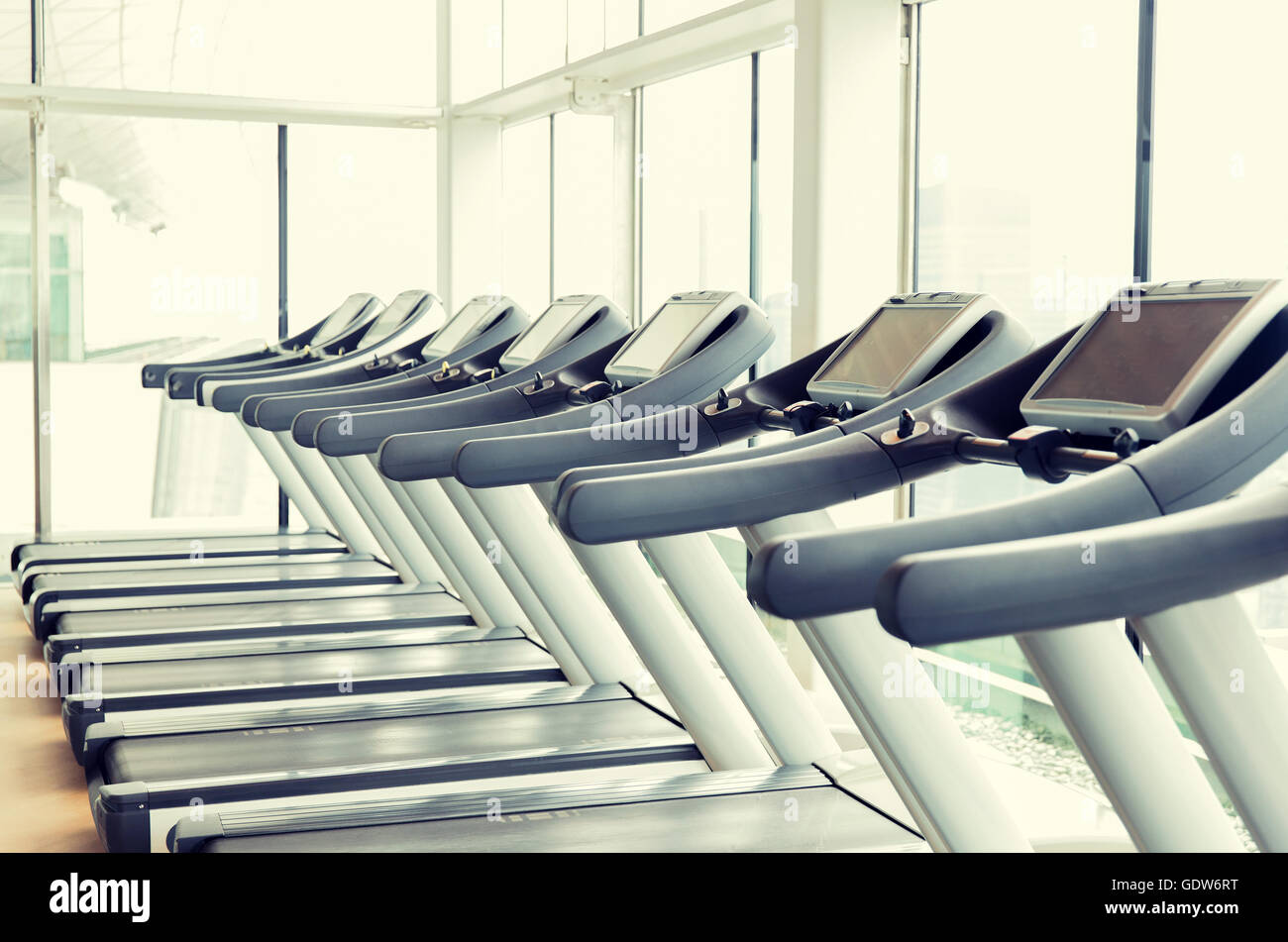 treadmills in gym - Stock Image
