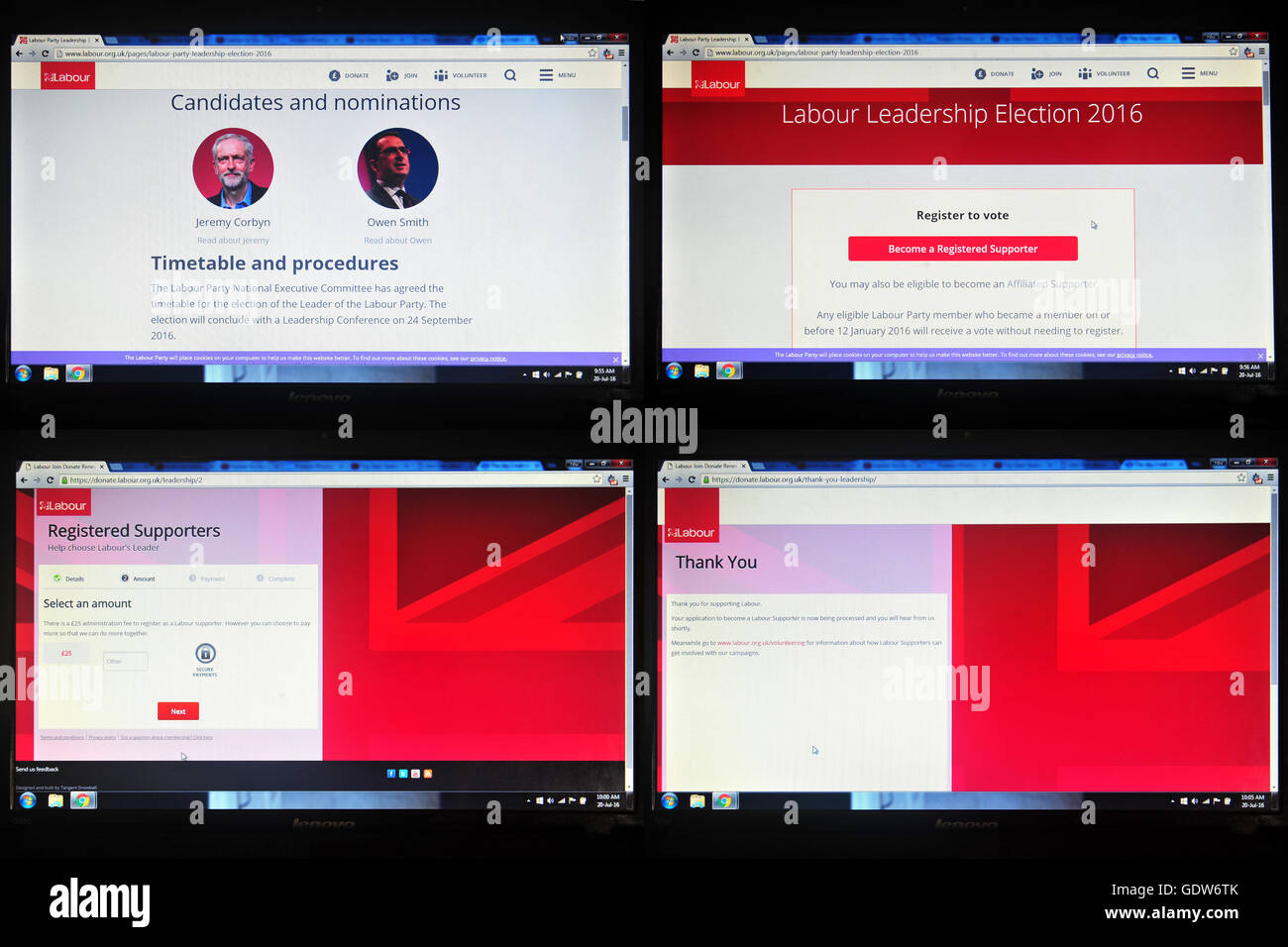 A set of computer screens showing the process of joining the Labour Party registered supporter for £25. - Stock Image